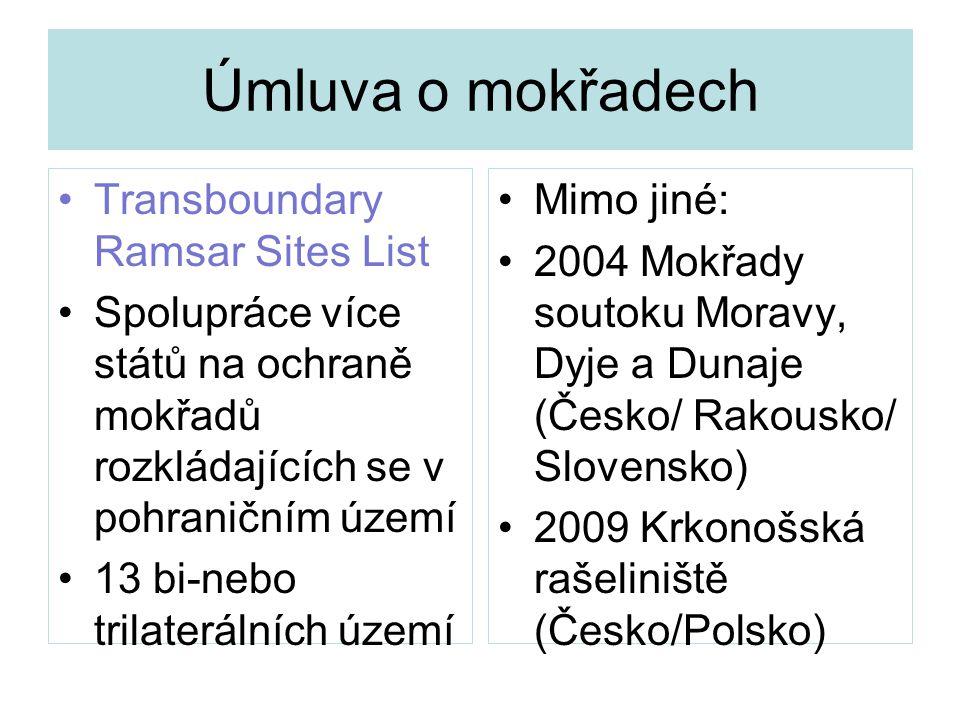 Úmluva o mokřadech Transboundary Ramsar Sites List Spolupráce více států na ochraně mokřadů rozkládajících se v pohraničním území 13 bi-nebo trilaterá