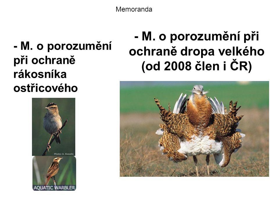 - M. o porozumění při ochraně dropa velkého (od 2008 člen i ČR) - M. o porozumění při ochraně rákosníka ostřicového Memoranda