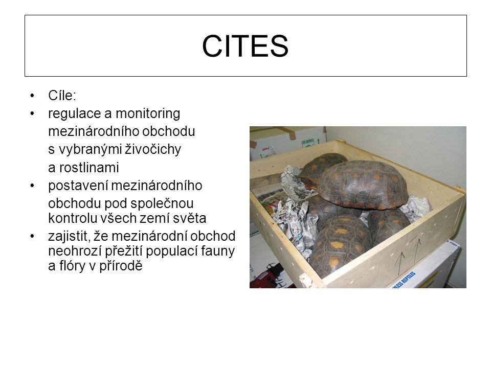Cíle: regulace a monitoring mezinárodního obchodu s vybranými živočichy a rostlinami postavení mezinárodního obchodu pod společnou kontrolu všech zemí