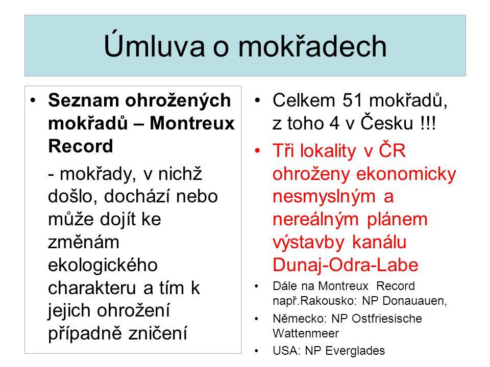 Úmluva o mokřadech Seznam ohrožených mokřadů – Montreux Record - mokřady, v nichž došlo, dochází nebo může dojít ke změnám ekologického charakteru a t
