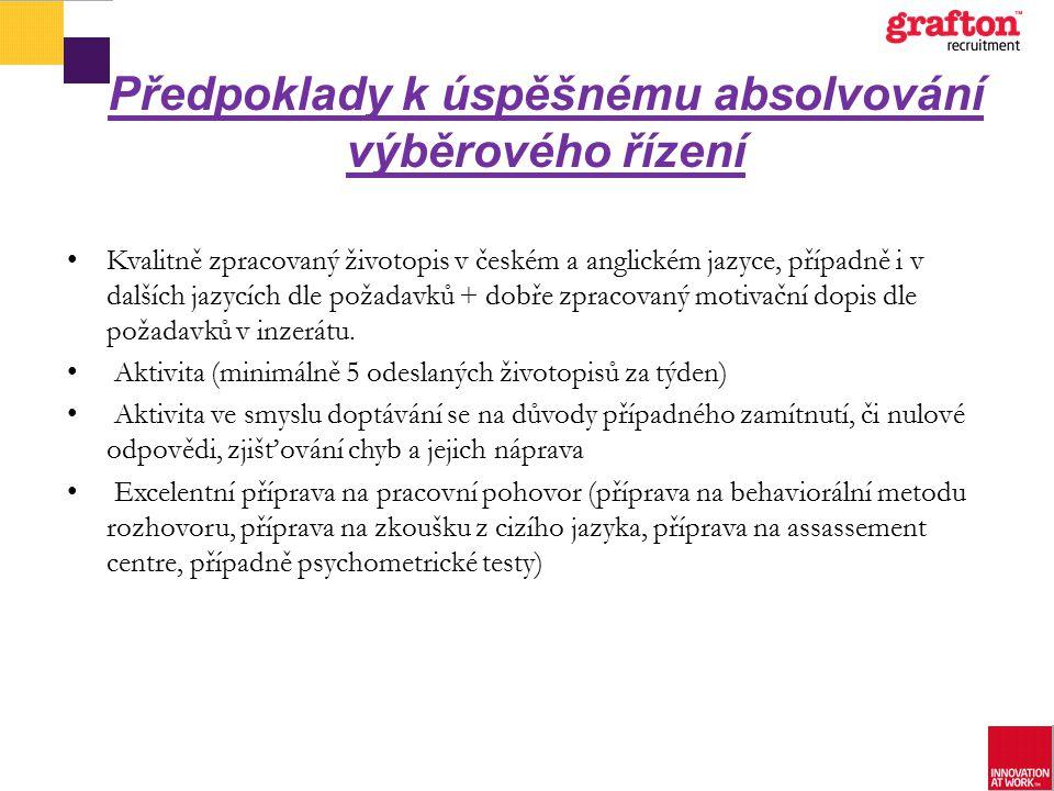 Předpoklady k úspěšnému absolvování výběrového řízení Kvalitně zpracovaný životopis v českém a anglickém jazyce, případně i v dalších jazycích dle pož
