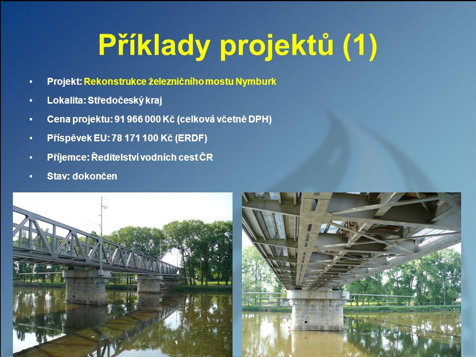 Příklady projektů (1) Projekt: Rekonstrukce železničního mostu Nymburk Lokalita: Středočeský kraj Cena projektu: 91 966 000 Kč (celková včetně DPH) Př