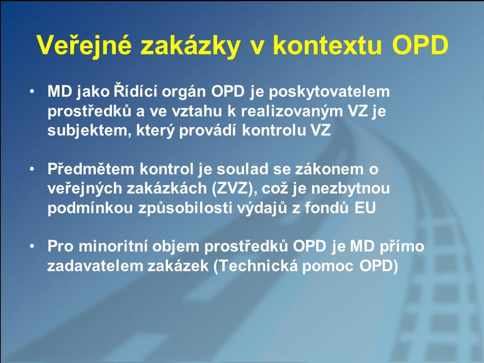 Veřejné zakázky v kontextu OPD MD jako Řídící orgán OPD je poskytovatelem prostředků a ve vztahu k realizovaným VZ je subjektem, který provádí kontrol