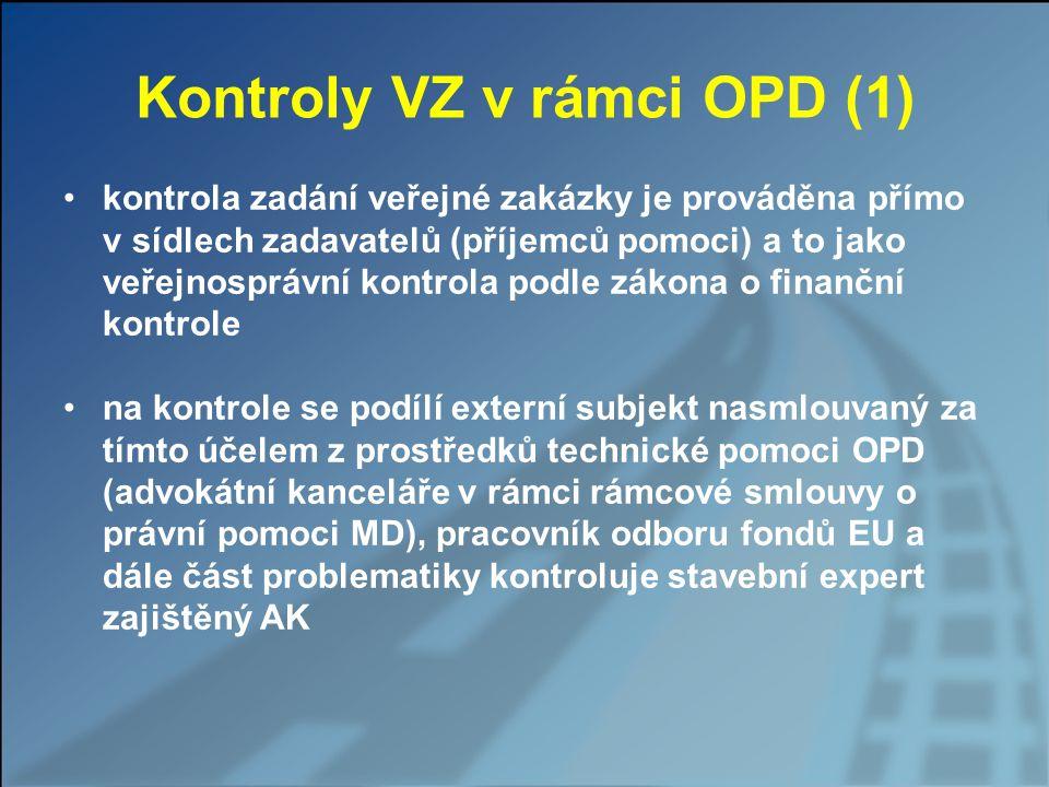 Kontroly VZ v rámci OPD (1) kontrola zadání veřejné zakázky je prováděna přímo v sídlech zadavatelů (příjemců pomoci) a to jako veřejnosprávní kontrol