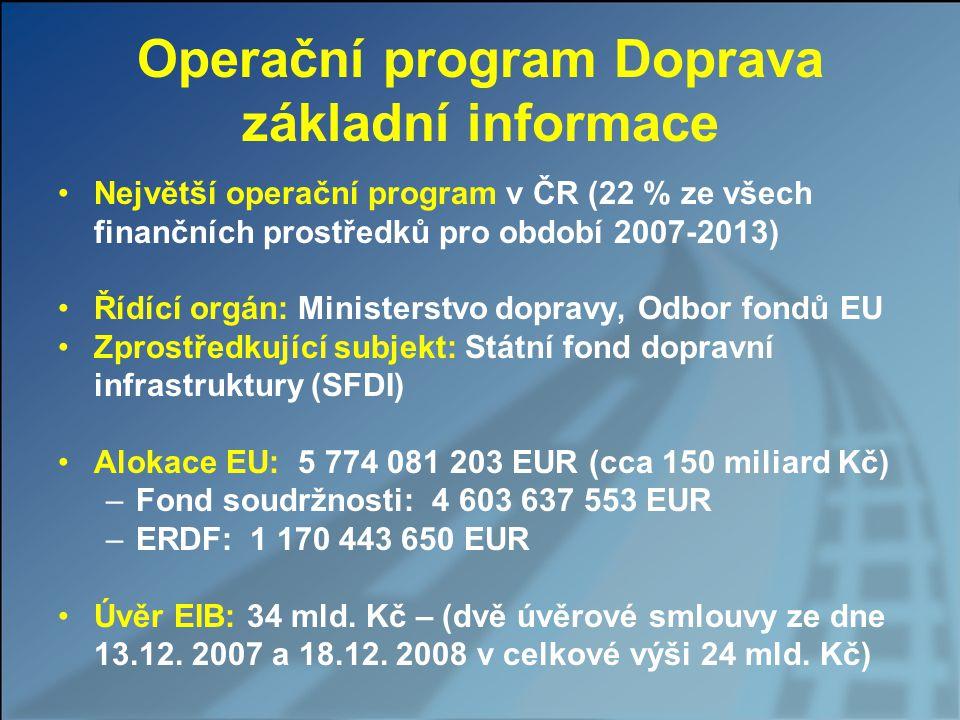 Operační program Doprava (2) Program schválen vládou ČR dne 15.11.2006 Program schválen Evropskou komisí dne 10.12.