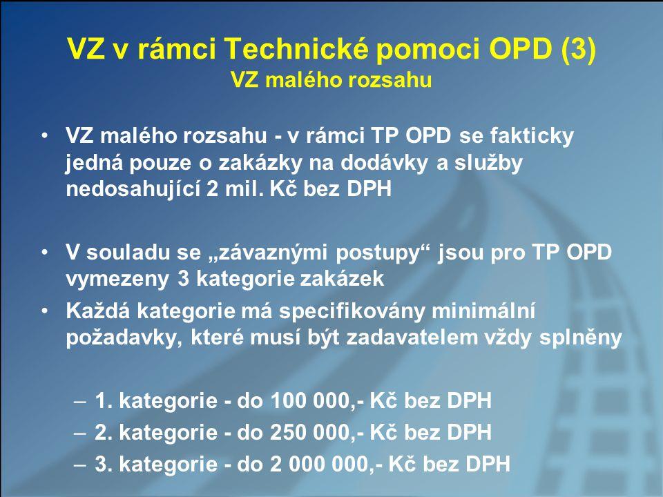 VZ v rámci Technické pomoci OPD (3) VZ malého rozsahu VZ malého rozsahu - v rámci TP OPD se fakticky jedná pouze o zakázky na dodávky a služby nedosah
