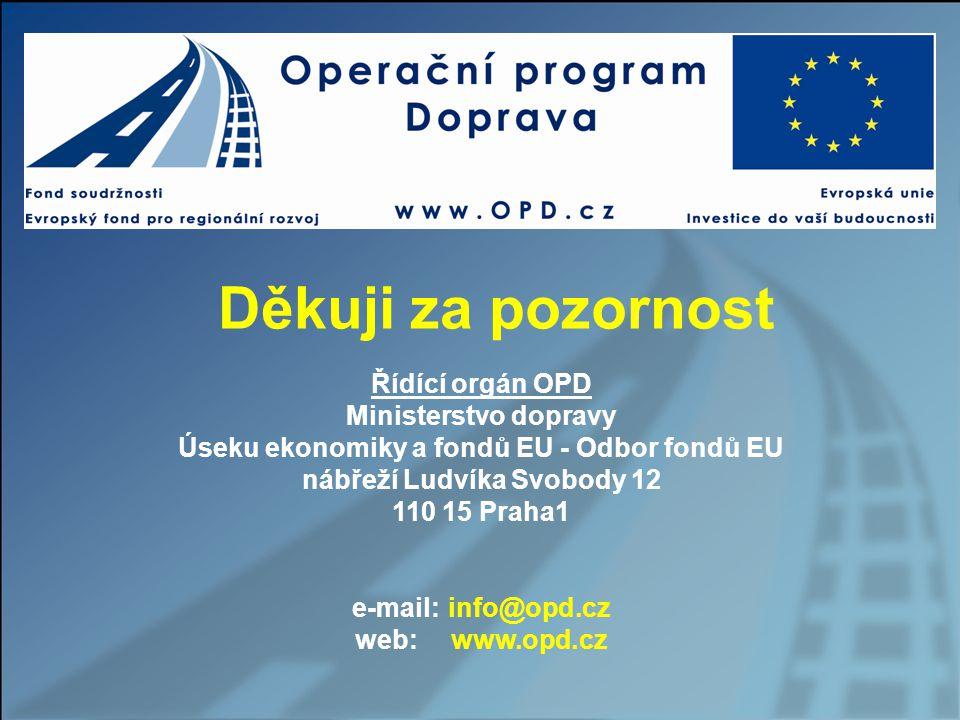 Děkuji za pozornost Řídící orgán OPD Ministerstvo dopravy Úseku ekonomiky a fondů EU - Odbor fondů EU nábřeží Ludvíka Svobody 12 110 15 Praha1 e-mail: