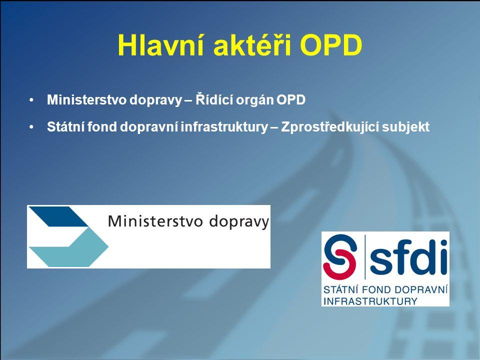 Hlavní příjemci podpory OPD Ředitelství silnic a dálnic (ŘSD) Správa železniční dopravní cesty (SŽDC) Ředitelství vodních cest (ŘVC)