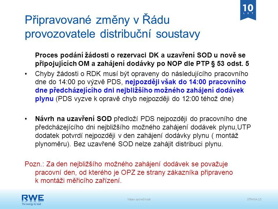 Název společnostiSTRANA 10 Připravované změny v Řádu provozovatele distribuční soustavy Proces podání žádosti o rezervaci DK a uzavření SOD u nově se