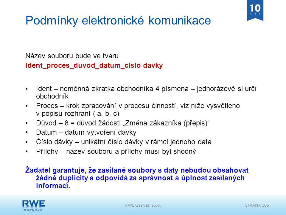 Podmínky elektronické komunikace Název souboru bude ve tvaru ident_proces_duvod_datum_cislo davky Ident – neměnná zkratka obchodníka 4 písmena – jedno