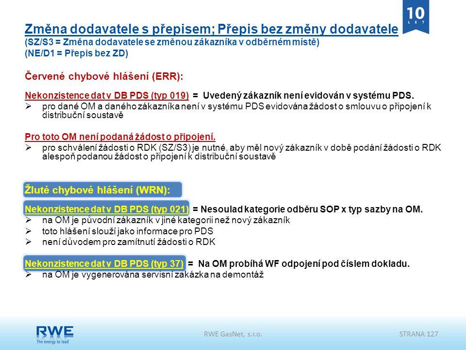 RWE GasNet, s.r.o.STRANA 127 Změna dodavatele s přepisem; Přepis bez změny dodavatele (SZ/S3 = Změna dodavatele se změnou zákazníka v odběrném místě)