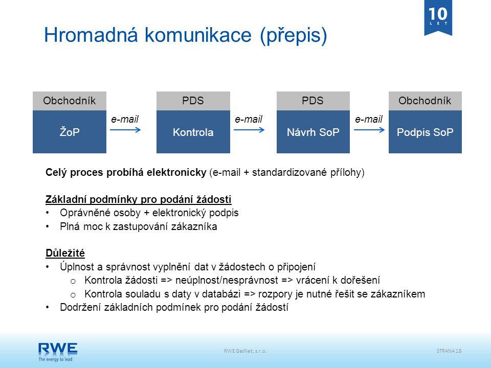RWE GasNet, s.r.o.STRANA 18 Hromadná komunikace (přepis) ŽoPKontrola ObchodníkPDS e-mail Návrh SoPPodpis SoP e-mail Celý proces probíhá elektronicky (