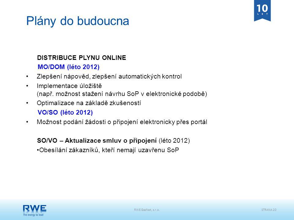 STRANA 20 Plány do budoucna DISTRIBUCE PLYNU ONLINE MO/DOM (léto 2012) Zlepšení nápověd, zlepšení automatických kontrol Implementace úložiště (např. m