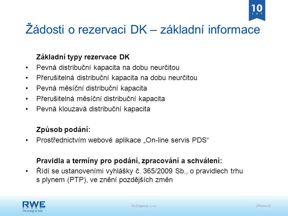 RWE GasNet, s.r.o.STRANA 23 Žádosti o rezervaci DK – základní informace Základní typy rezervace DK Pevná distribuční kapacita na dobu neurčitou Přeruš