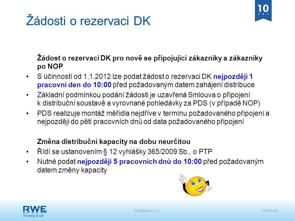 RWE GasNet, s.r.o.STRANA 24 Žádosti o rezervaci DK Žádost o rezervaci DK pro nově se připojující zákazníky a zákazníky po NOP S účinností od 1.1.2012