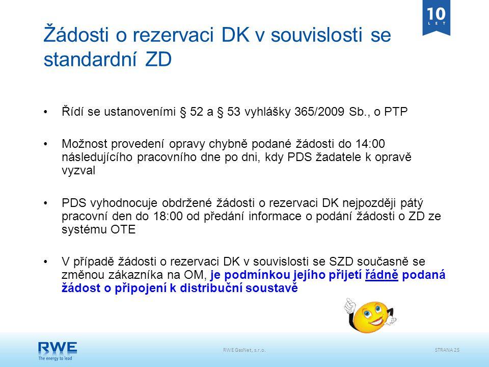 RWE GasNet, s.r.o.STRANA 25 Žádosti o rezervaci DK v souvislosti se standardní ZD Řídí se ustanoveními § 52 a § 53 vyhlášky 365/2009 Sb., o PTP Možnos
