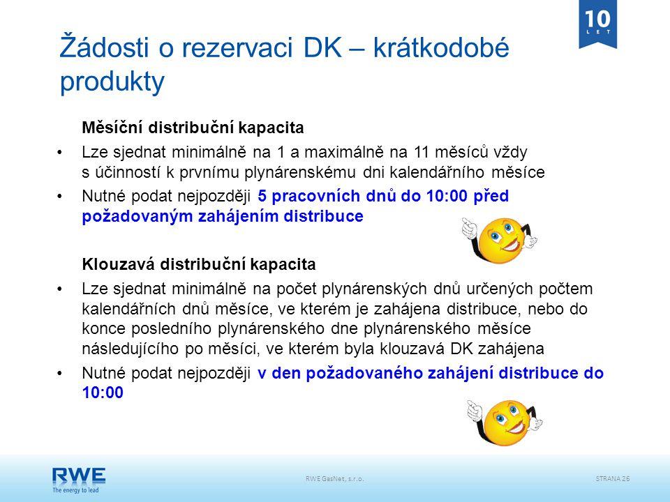RWE GasNet, s.r.o.STRANA 26 Žádosti o rezervaci DK – krátkodobé produkty Měsíční distribuční kapacita Lze sjednat minimálně na 1 a maximálně na 11 měs