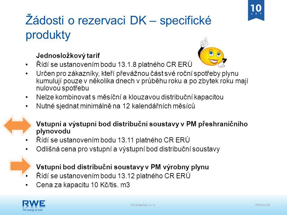 RWE GasNet, s.r.o.STRANA 29 Žádosti o rezervaci DK – specifické produkty Jednosložkový tarif Řídí se ustanovením bodu 13.1.8 platného CR ERÚ Určen pro