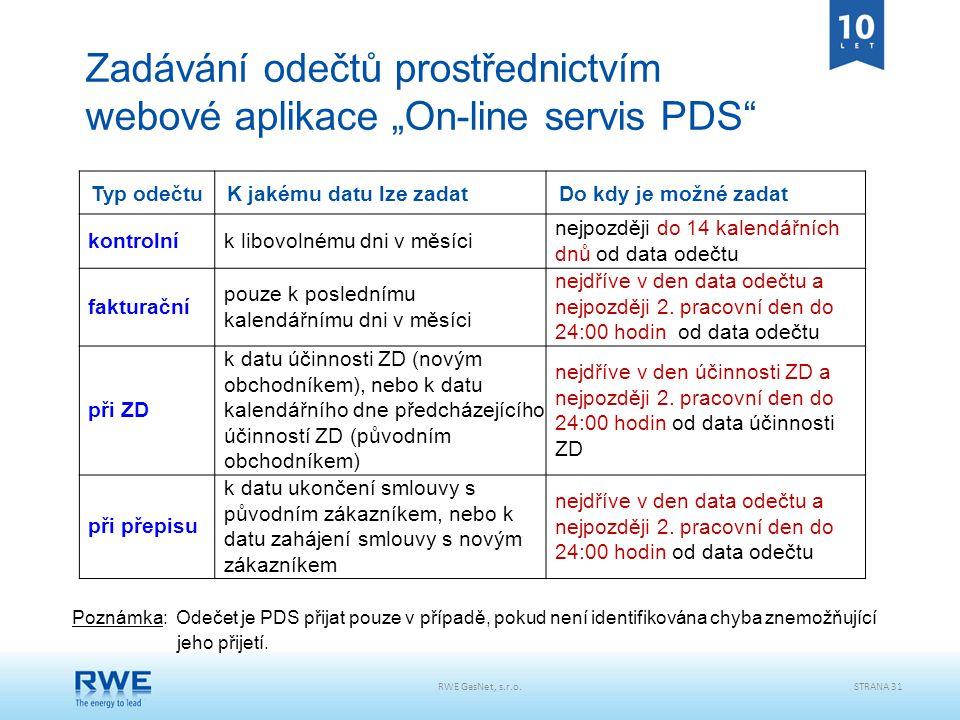 """RWE GasNet, s.r.o.STRANA 31 Zadávání odečtů prostřednictvím webové aplikace """"On-line servis PDS"""" Typ odečtu K jakému datu lze zadat Do kdy je možné za"""
