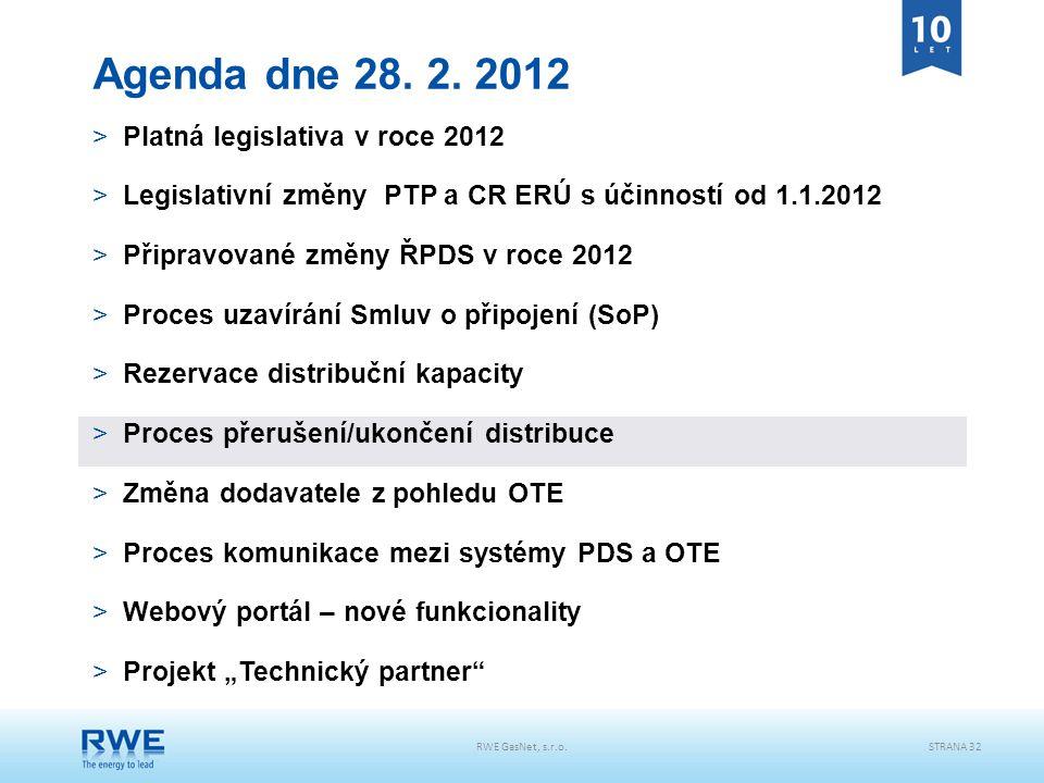 RWE GasNet, s.r.o.STRANA 32 Agenda dne 28. 2. 2012 >Platná legislativa v roce 2012 >Legislativní změny PTP a CR ERÚ s účinností od 1.1.2012 >Připravov