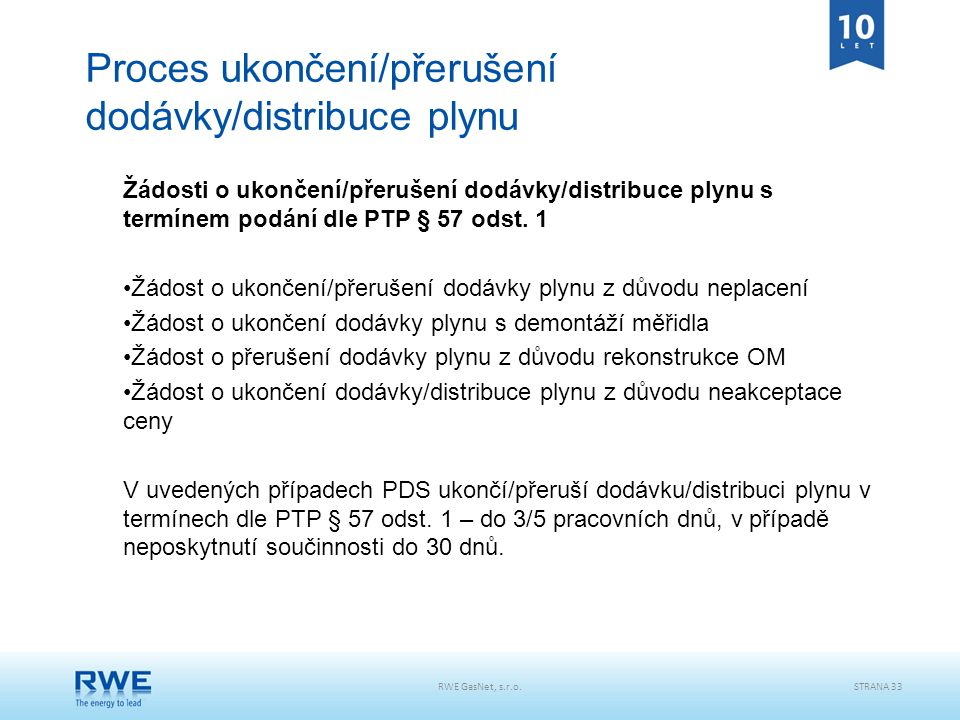 RWE GasNet, s.r.o.STRANA 33 Proces ukončení/přerušení dodávky/distribuce plynu Žádosti o ukončení/přerušení dodávky/distribuce plynu s termínem podání