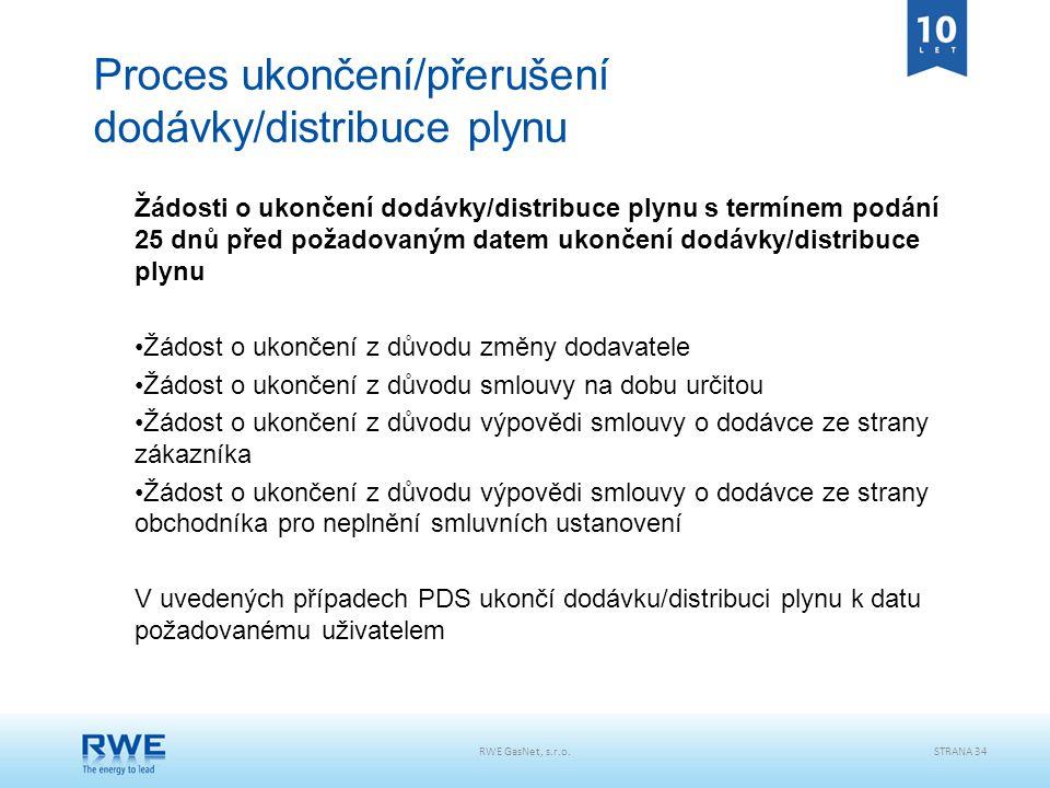 RWE GasNet, s.r.o.STRANA 34 Proces ukončení/přerušení dodávky/distribuce plynu Žádosti o ukončení dodávky/distribuce plynu s termínem podání 25 dnů př