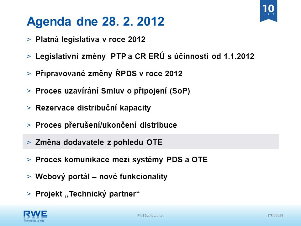 RWE GasNet, s.r.o.STRANA 36 Agenda dne 28. 2. 2012 >Platná legislativa v roce 2012 >Legislativní změny PTP a CR ERÚ s účinností od 1.1.2012 >Připravov