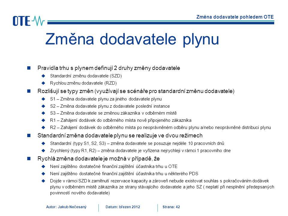 Změna dodavatele pohledem OTE Autor: Jakub NečesanýDatum: březen 2012 Strana: 42 Změna dodavatele plynu Pravidla trhu s plynem definují 2 druhy změny