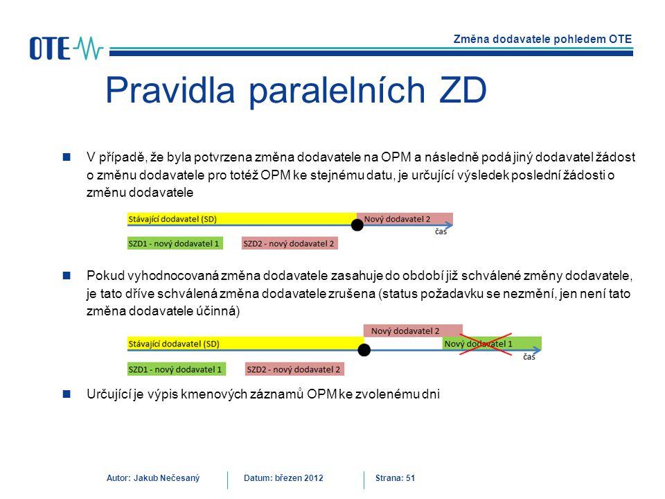 Změna dodavatele pohledem OTE Autor: Jakub NečesanýDatum: březen 2012 Strana: 51 Pravidla paralelních ZD V případě, že byla potvrzena změna dodavatele