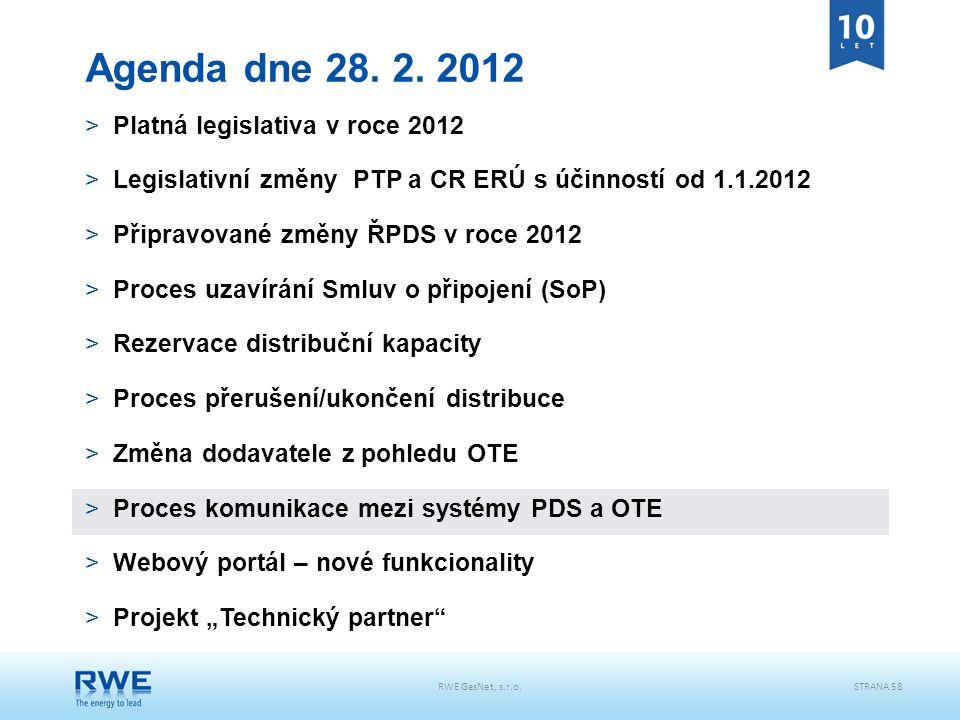 RWE GasNet, s.r.o.STRANA 58 Agenda dne 28. 2. 2012 >Platná legislativa v roce 2012 >Legislativní změny PTP a CR ERÚ s účinností od 1.1.2012 >Připravov