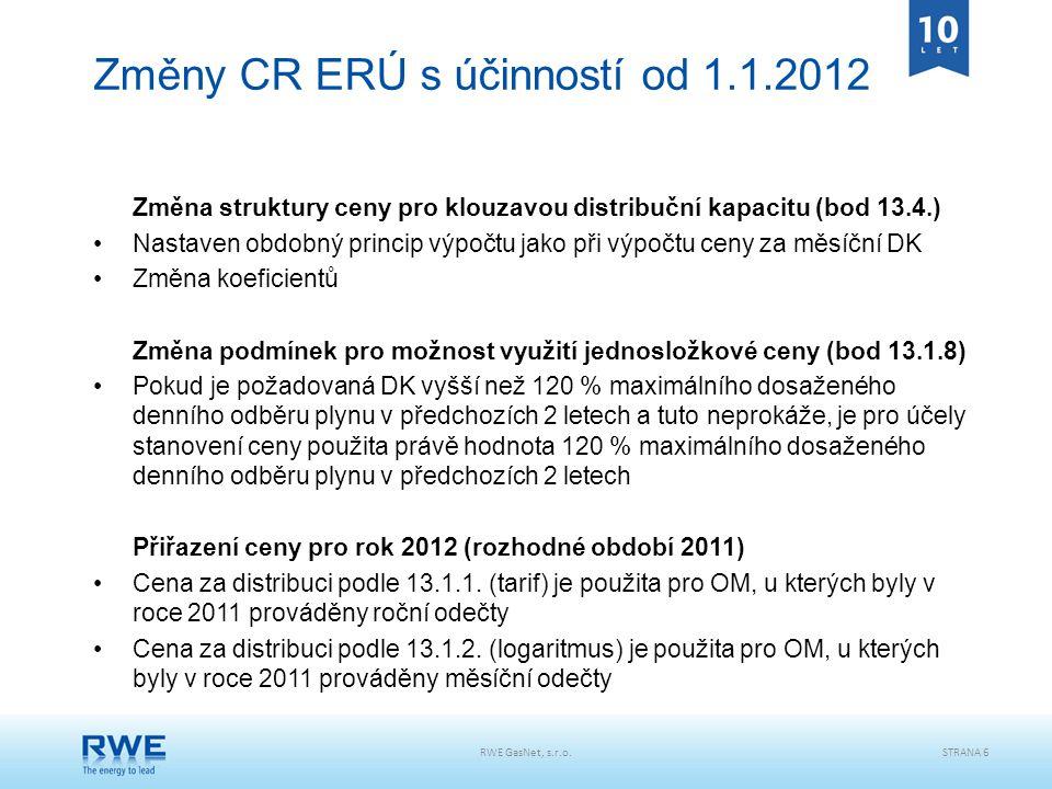 RWE GasNet, s.r.o.STRANA 6 Změny CR ERÚ s účinností od 1.1.2012 Změna struktury ceny pro klouzavou distribuční kapacitu (bod 13.4.) Nastaven obdobný p