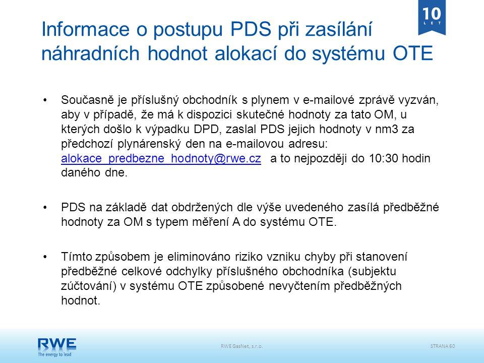 RWE GasNet, s.r.o.STRANA 60 Informace o postupu PDS při zasílání náhradních hodnot alokací do systému OTE Současně je příslušný obchodník s plynem v e