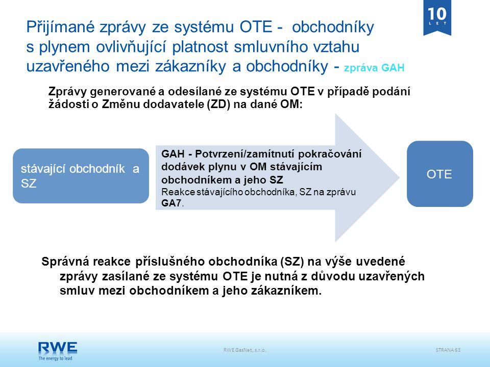 RWE GasNet, s.r.o.STRANA 63 Přijímané zprávy ze systému OTE - obchodníky s plynem ovlivňující platnost smluvního vztahu uzavřeného mezi zákazníky a ob