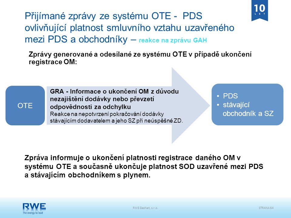 RWE GasNet, s.r.o.STRANA 64 Přijímané zprávy ze systému OTE - PDS ovlivňující platnost smluvního vztahu uzavřeného mezi PDS a obchodníky – reakce na z