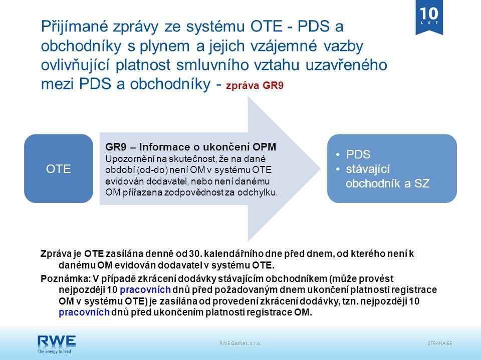RWE GasNet, s.r.o.STRANA 65 Přijímané zprávy ze systému OTE - PDS a obchodníky s plynem a jejich vzájemné vazby ovlivňující platnost smluvního vztahu