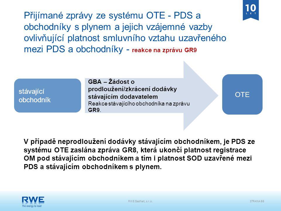 RWE GasNet, s.r.o.STRANA 66 Přijímané zprávy ze systému OTE - PDS a obchodníky s plynem a jejich vzájemné vazby ovlivňující platnost smluvního vztahu
