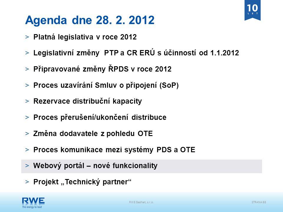 RWE GasNet, s.r.o.STRANA 68 Agenda dne 28. 2. 2012 >Platná legislativa v roce 2012 >Legislativní změny PTP a CR ERÚ s účinností od 1.1.2012 >Připravov