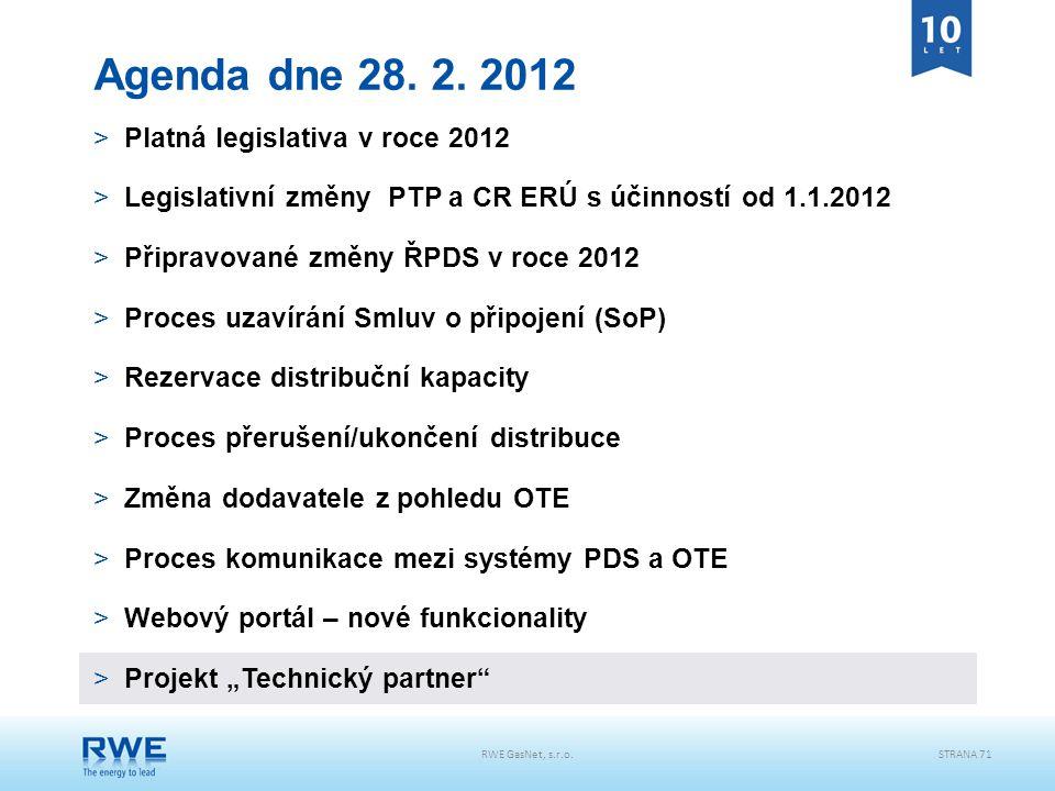 RWE GasNet, s.r.o.STRANA 71 Agenda dne 28. 2. 2012 >Platná legislativa v roce 2012 >Legislativní změny PTP a CR ERÚ s účinností od 1.1.2012 >Připravov