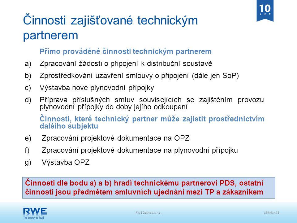 Přímo prováděné činnosti technickým partnerem a)Zpracování žádosti o připojení k distribuční soustavě b)Zprostředkování uzavření smlouvy o připojení (