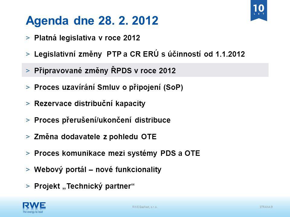 RWE GasNet, s.r.o.STRANA 9 Agenda dne 28. 2. 2012 >Platná legislativa v roce 2012 >Legislativní změny PTP a CR ERÚ s účinností od 1.1.2012 >Připravova