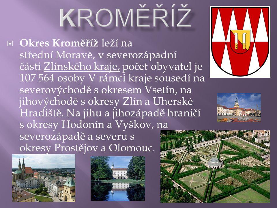  Okres Kroměříž leží na střední Moravě, v severozápadní části Zlínského kraje, počet obyvatel je 107 564 osoby V rámci kraje sousedí na severovýchodě