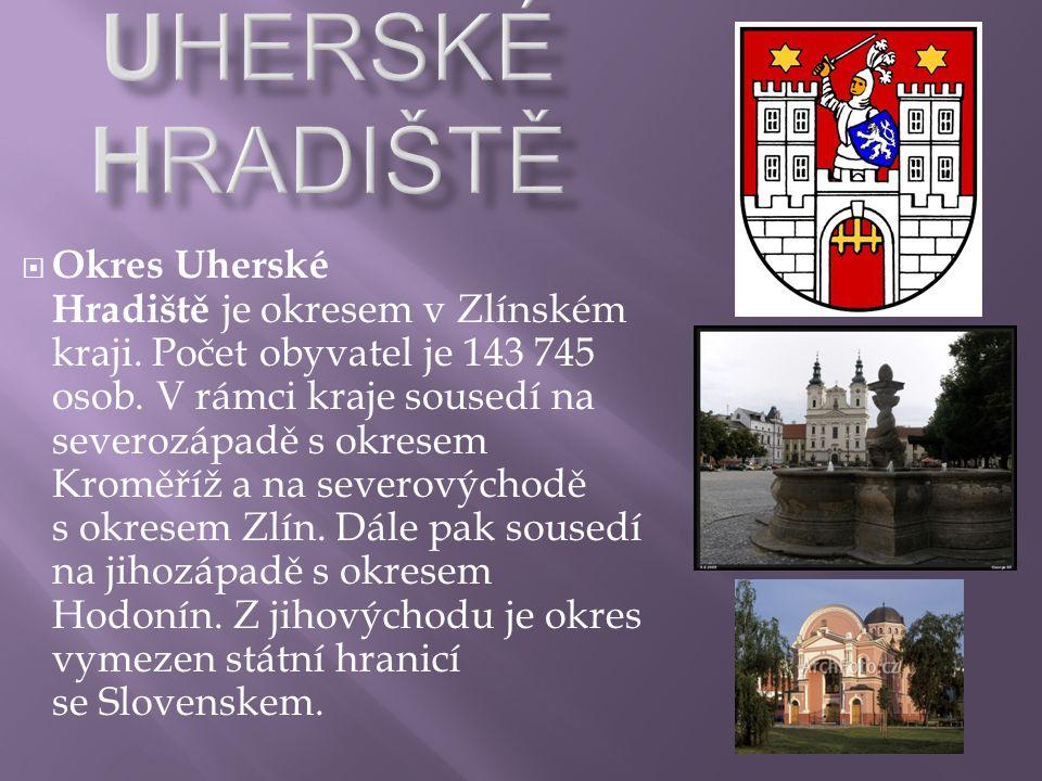  Okres Uherské Hradiště je okresem v Zlínském kraji. Počet obyvatel je 143 745 osob. V rámci kraje sousedí na severozápadě s okresem Kroměříž a na se