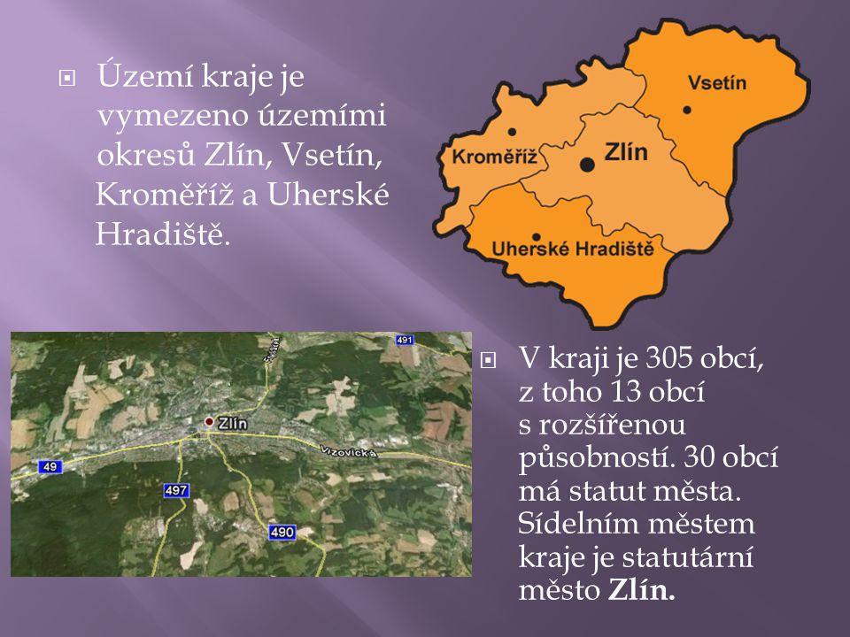  Území kraje je vymezeno územími okresů Zlín, Vsetín, Kroměříž a Uherské Hradiště.  V kraji je 305 obcí, z toho 13 obcí s rozšířenou působností. 30