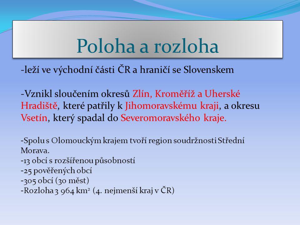 Poloha a rozloha -leží ve východní části ČR a hraničí se Slovenskem -Vznikl sloučením okresů Zlín, Kroměříž a Uherské Hradiště, které patřily k Jihomo