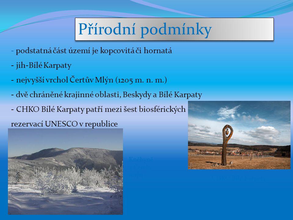 Přírodní podmínky - podstatná část území je kopcovitá či hornatá - jih-Bílé Karpaty - nejvyšší vrchol Čertův Mlýn (1205 m. n. m.) - dvě chráněné kraji