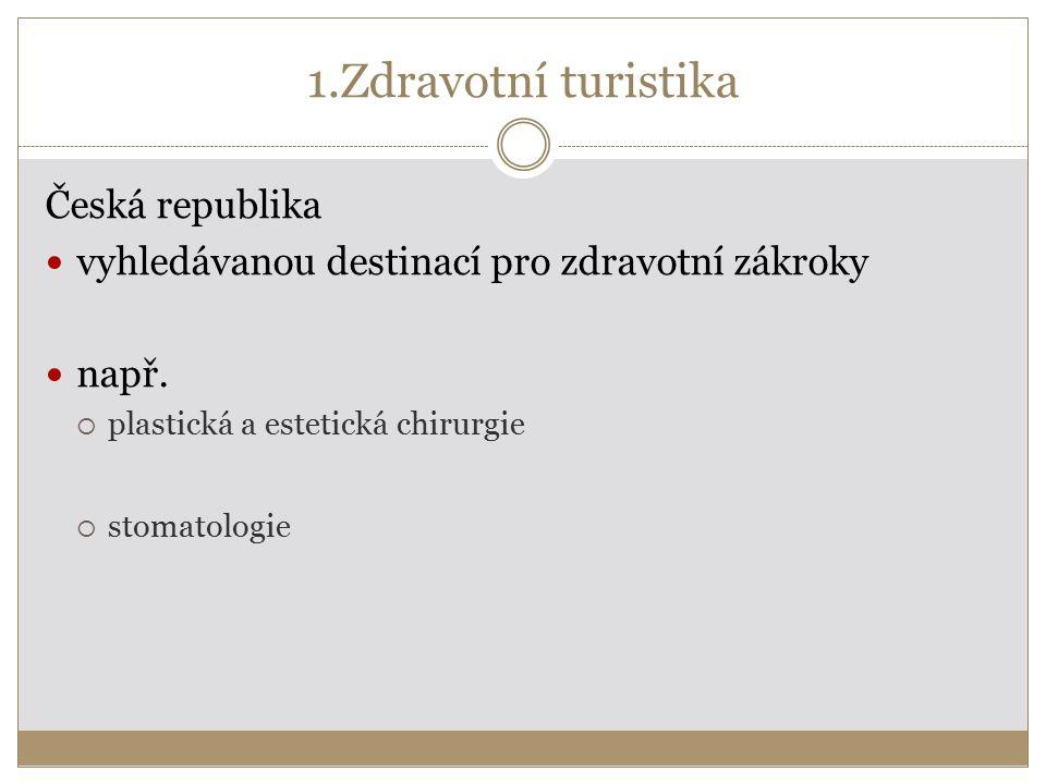 1.Zdravotní turistika Česká republika vyhledávanou destinací pro zdravotní zákroky např.  plastická a estetická chirurgie  stomatologie