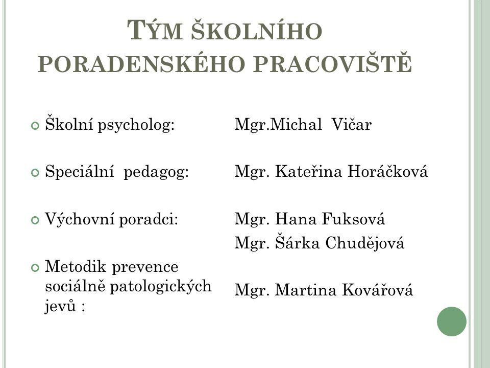 T ÝM ŠKOLNÍHO PORADENSKÉHO PRACOVIŠTĚ Školní psycholog: Speciální pedagog: Výchovní poradci: Metodik prevence sociálně patologických jevů : Mgr.Michal