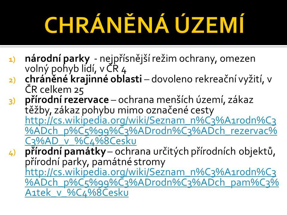 1) národní parky - nejpřísnější režim ochrany, omezen volný pohyb lidí, v ČR 4 2) chráněné krajinné oblasti – dovoleno rekreační vyžití, v ČR celkem 2