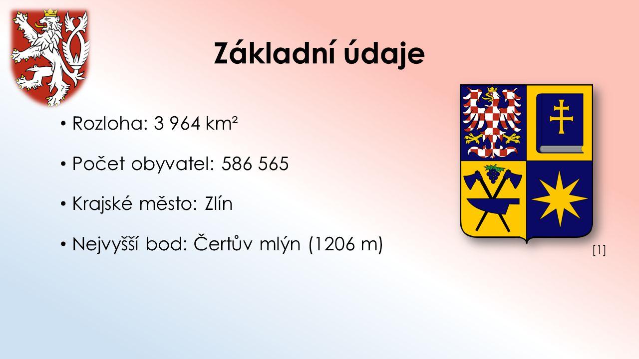 Základní údaje Rozloha: 3 964 km² Počet obyvatel: 586 565 Krajské město: Zlín Nejvyšší bod: Čertův mlýn (1206 m) [1][1]