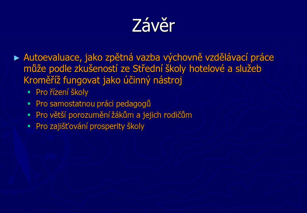 Závěr ► Autoevaluace, jako zpětná vazba výchovně vzdělávací práce může podle zkušeností ze Střední školy hotelové a služeb Kroměříž fungovat jako účin